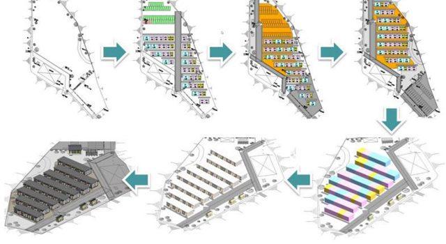 BIMを利用した応急仮設住宅の配置計画案の自動作成の流れ(イメージ)