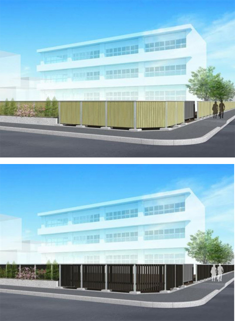 東京都資料より木塀の設計モデル。上:塀タイプ、下:柵タイプの例