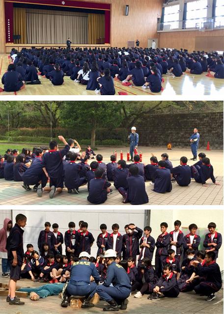 片倉高校の防災訓練体験では八王子消防署北野出張所から防災のプロフェッショナルが駆けつけて指導