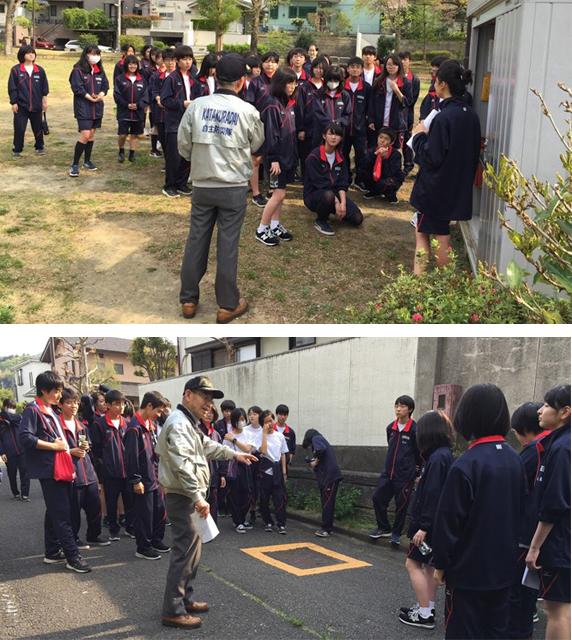 八王子市片倉台自治会自主防災隊が公園に設置された防災倉庫を案内したほか、避難路の安全性もチェックした