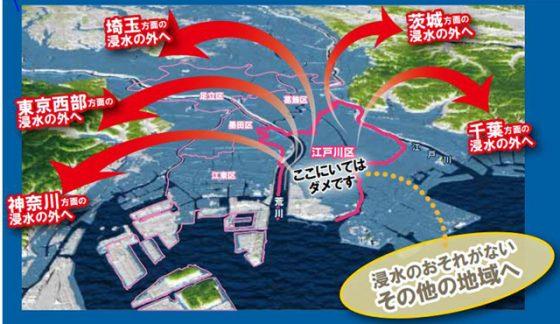 江戸川区の「水害・洪水・高潮マップ」(表紙より。一部トリミング)