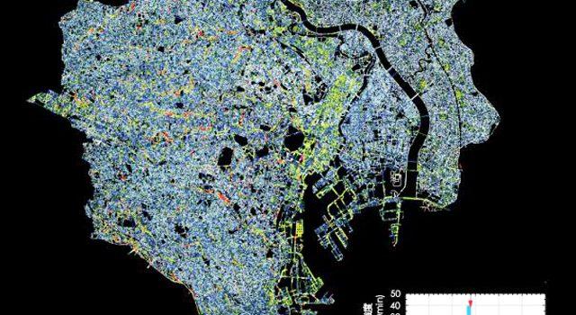 東京23区の浸水深マップ(早稲田大学資料より)