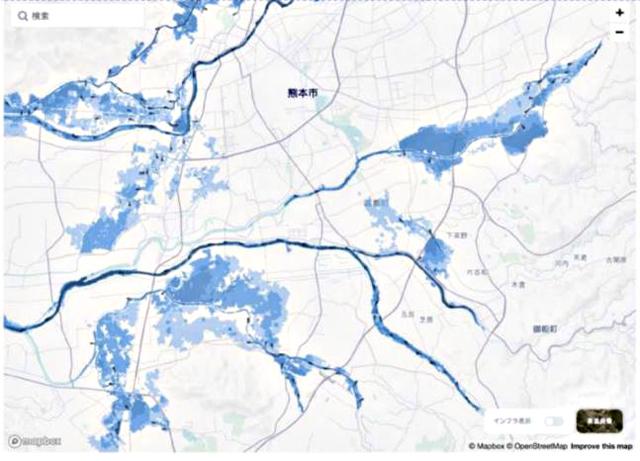 P3 2 熊本大学資料より「洪水による浸水エリアの被害予測シミュレーションイメージ」 - ICT・AIによる被害推計システム開発、続々…