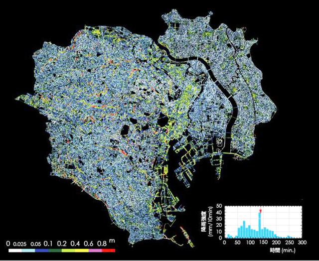 P4 1 東京23区の浸水深マップ(早稲田大学資料より) - ICT・AIによる被害推計システム開発、続々…