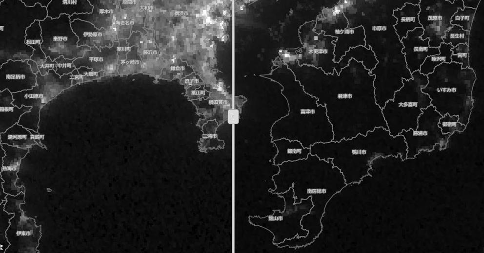 防災科学技術研究所「令和元(2019)年 梅雨期・台風期 クライシスレスポンスサイト」より、「人工衛星観測による夜間光マップ比較 (9/2 vs 9/9)」。米国NOAAの人工衛星「Suomi NPP」が観測した夜間光の分布。白い(明るい)ほど夜間光が強いことを示す(左→9月2日夜 右→9月9日夜)。この画像ではそれほど鮮明ではないが、センターのボーダーを左右に動かすことで、平時の夜間光と停電後の房総半島の状況を比較できる