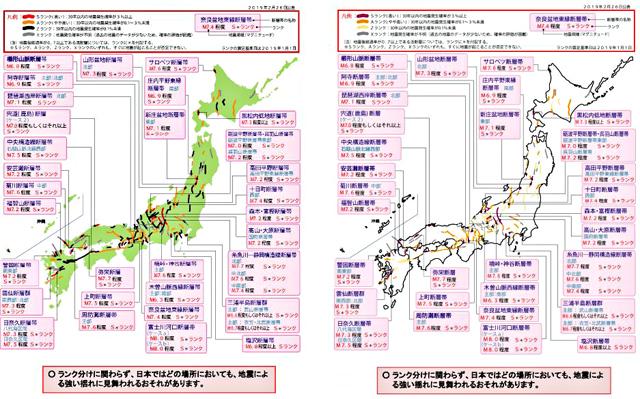 「主要活断層の評価結果」の配色イメージ(左:変更前、右:変更後)