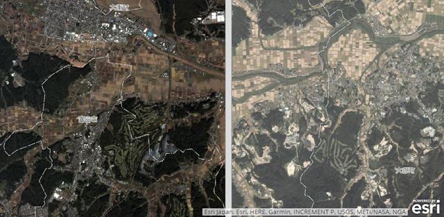酪農学園大学広報資料より「宮城県吉田川の洪水状況を人工衛星の画像」