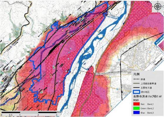 長野市が作成した洪水ハザードマップとの重ね合わせ