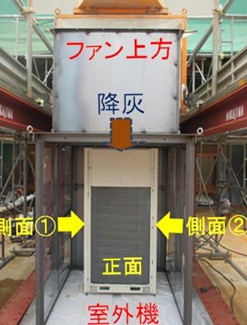 写真1:空調機の降灰実験
