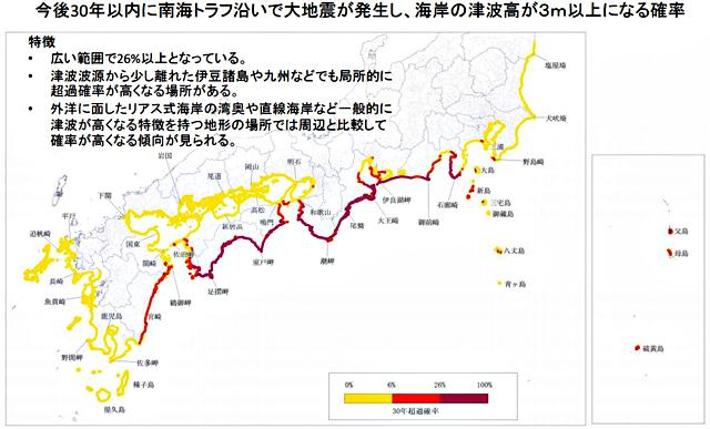 P3 1a 「海岸津波高が3m以上になる確率」 1 - 地震本部 南海トラフ巨大地震「30年以内津波確率」を初公表