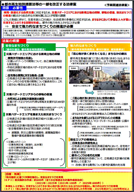 P3 1a 都市再生特別措置法等の一部を改正する法律案の概要(国土交通省資料より) - 災害に強いまちづくりへ「都市再生特別措置法等」の一部改正