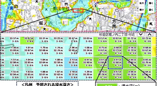 「東京都浸水検索サービス」のイメージ(東京都資料より)