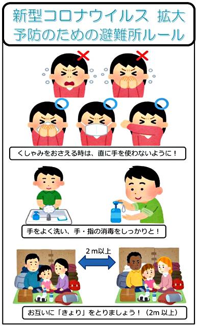 宮城県気仙沼市「新型コロナウイルス拡大予 防のための避難所ルール」イメージ画より
