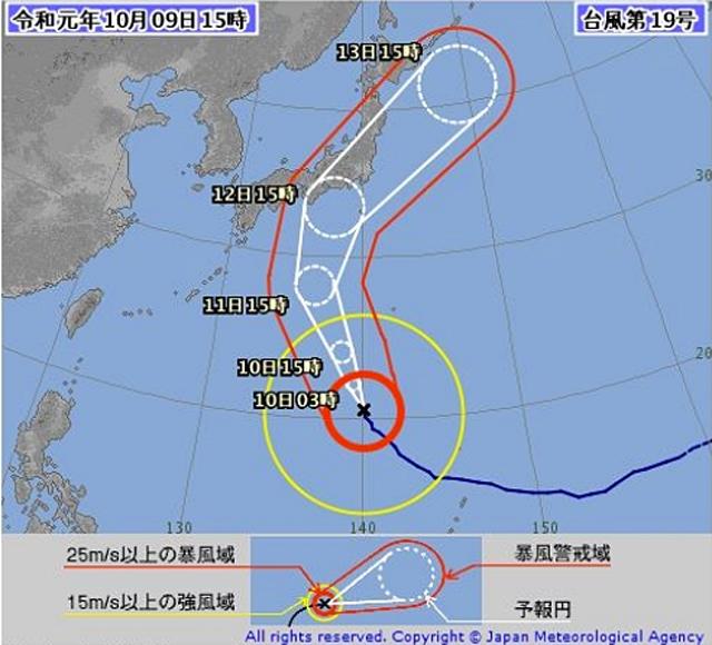 気象庁資料より「2019年台風19号予想進路 (10月9日15時)」