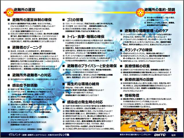 P4 1 東京大学「災害対策トレーニングセンター(DMTC)」の「対策ジレンマ集」より - 感染症蔓延下の避難所運営<br> マニュアル各種の習熟を