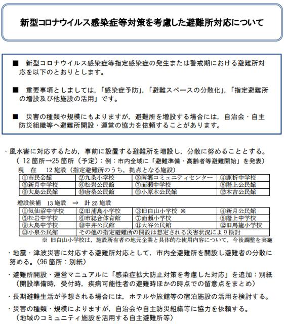 宮城県気仙沼市「新型コロナウイルス感染症等対策を考慮した避難所対応について」より(一部抜粋)
