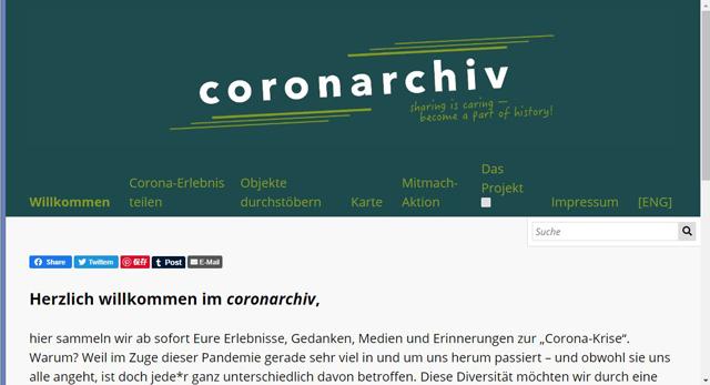 ドイツ・ハンブルク大学などの研究者が共同して始まった「coronarchivプロジェクト」HPより(ドイツ語か英語で閲覧可)