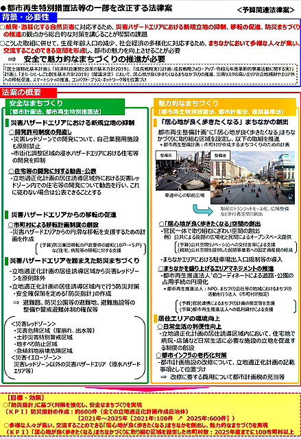 P4 1 「都市再生特別措置法等の一部を改正する法律」概要より - 改正都市再生法、<br>「Withコロナ」のまちづくりへ