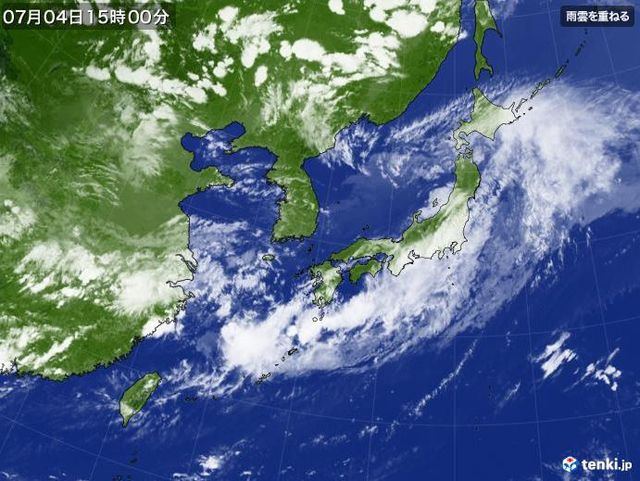 P2 1b tenki.jpより「日本付近の気象衛星2020年07月04日」 - 「2020(令和2)年7月豪雨」<br>5年連続 気象庁命名の風水害