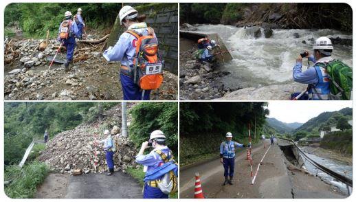 P2 2 国土交通省 TEC FORCE活動リポートより熊本県八代市の被害調査(7月12日)より - 「2020(令和2)年7月豪雨」<br>5年連続 気象庁命名の風水害