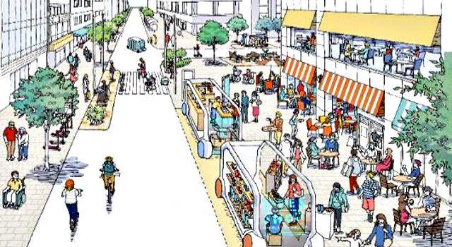 「2040年、道路の景色が変わる」より「店舗(サービス)の移動」イメージ