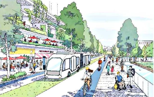 「2040年、道路の景色が変わる」より、上画像: 「店舗(サービス)の移動」イメージ。下:「BRT や自転車等を中心とした低炭素な交通システ ム」イメージ
