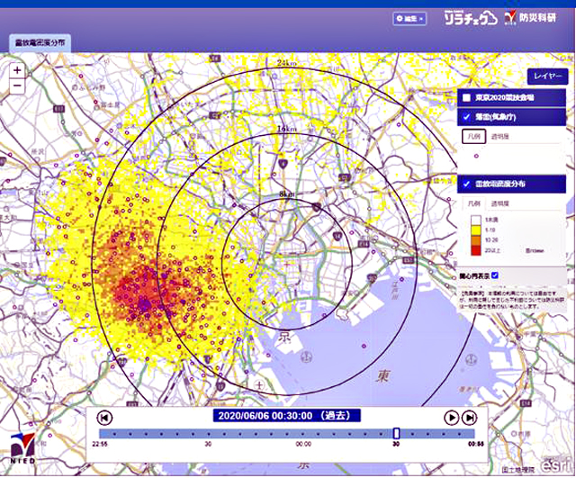 雷放電密度分布の表示例(年月日・時刻はダミー、実際とは異なる)