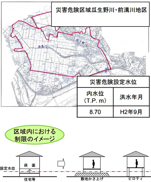 """P2 2 宮崎市条例の災害危険区域の指定例より - 災害常態化、""""攻める""""防災、<br>「ニュー防災主流化」に期待"""