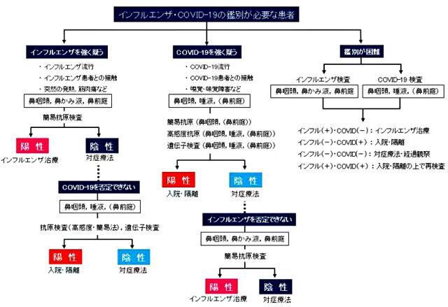 P3 4 インフルエンザ・COVID 19(新型コロナ)の鑑別が必要な患者(日本感染症学会資料より) - インフルエンザ×COVID-19(新型コロナ) <br>同時流行に備える