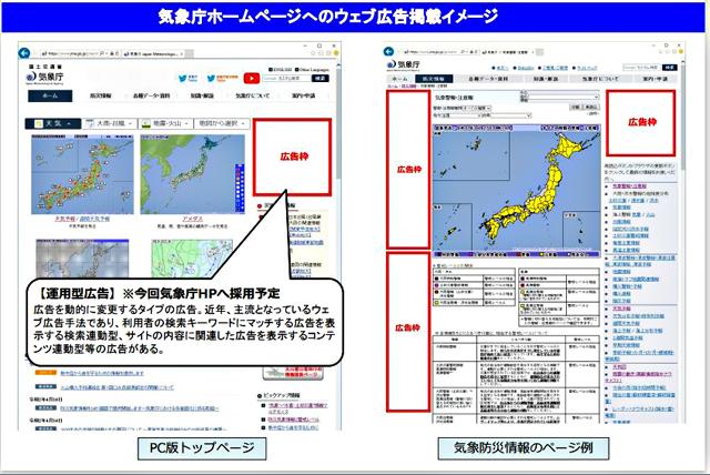 P6 1 気象庁HPへのウェブ広告掲載イメージ(気象庁資料より) - 気象庁ホームページに<br>ウェブ広告掲載へ