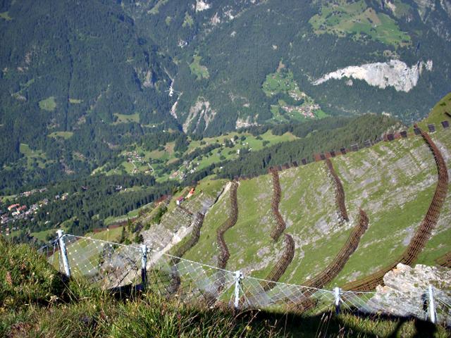 P3 4 写真2 雪崩防止用のスノーネット(メンリッヒェンにて) - [特別寄稿] スイスの防災福祉に学ぶ<br> 川村 匡由 (かわむら まさよし)<br>武蔵野大学名誉教授