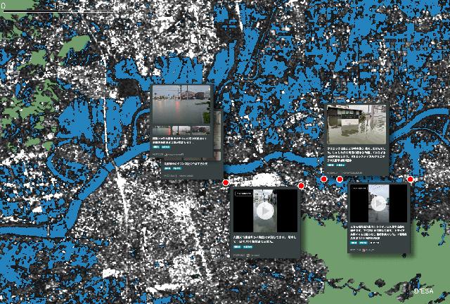 P6 1a 総合インテリジェンスシステムの画面イメージ<水災発生時> - 「衛星データ解析結果<br>+SNSの投稿内容」=精度向上