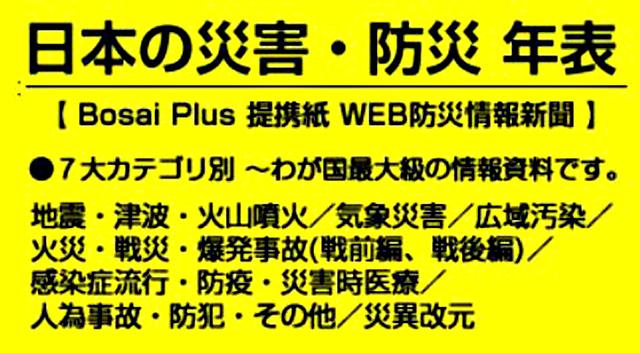 P6 2 《Bosai Plus》提携紙・WEB防災情報新聞の「日本の災害・防災 年表」へのリンクバナー - パナソニック「災害カレンダー」と<br> 防災情報新聞『日本の災害・防災 年表』