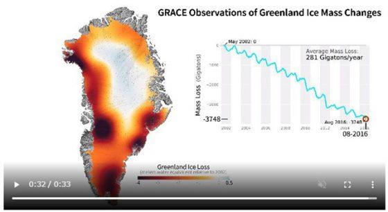 グリーンランドの氷の減少(アニメーション)
