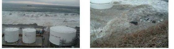 東京電力報告書より「福島第一原子力発電所に襲来した津波の状況(5、6号機海沿い/固体廃棄物貯蔵所東側)」