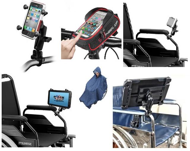 車椅子に装着できるスマホ・タブレットスタンド例 - 在宅避難が勧められるいま、<br>「情報弱者=災害弱者」の現実