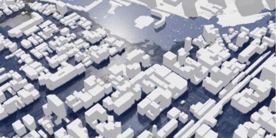 「まちの災害リスクや避難経路等を可視化した検証事例の紹介も(PLATEAU HPより)