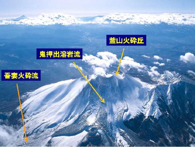 P4 3 北方上空から見る浅間山火山の山腹斜面 - 「やんば天明泥流ミュージアム」<br>オープン