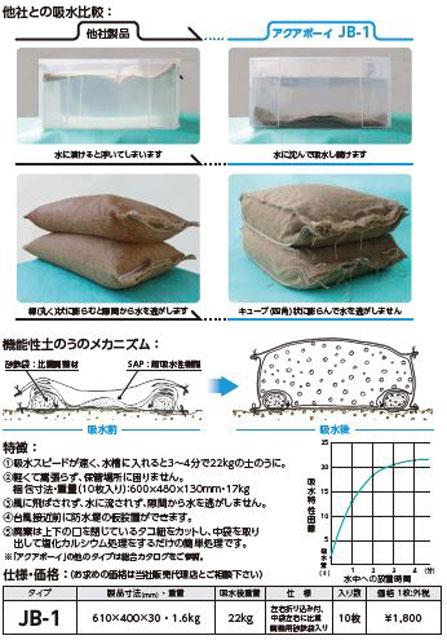 """P5 2 『アクアボーイ JB 1』カタログより - """"機能性土のう""""で浸水を防ぐ<br>『アクアボーイ JB-1』"""