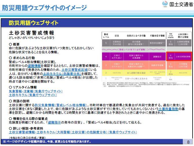 P2 3 『防災用語ウェブサイト』の用語「土砂災害警戒情報」解説ページのイメージ - 出水期に新設予定!<br>『 防災用語ウェブサイト』