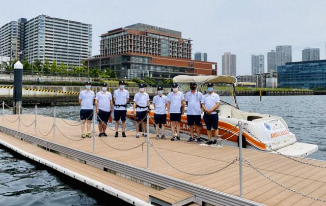 P3 0 5月26日救急艇披露で(MHI HPより) - 救急艇で救急搬送 オリパラに備えて